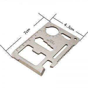 Daugiafunkcinis kišeninis išgyvenimo įrankis kortelėpeilis, turintis 11 funkcijų